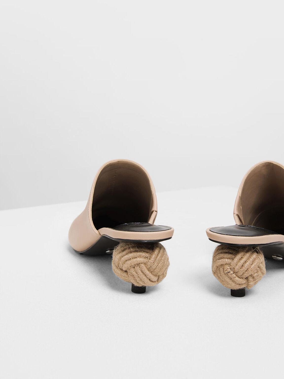 Spherical Heel Leather Mules, Nude, hi-res