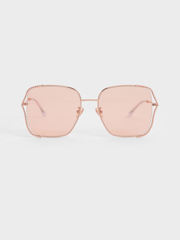 Tinted Butterfly Sunglasses, Rose Gold, hi-res