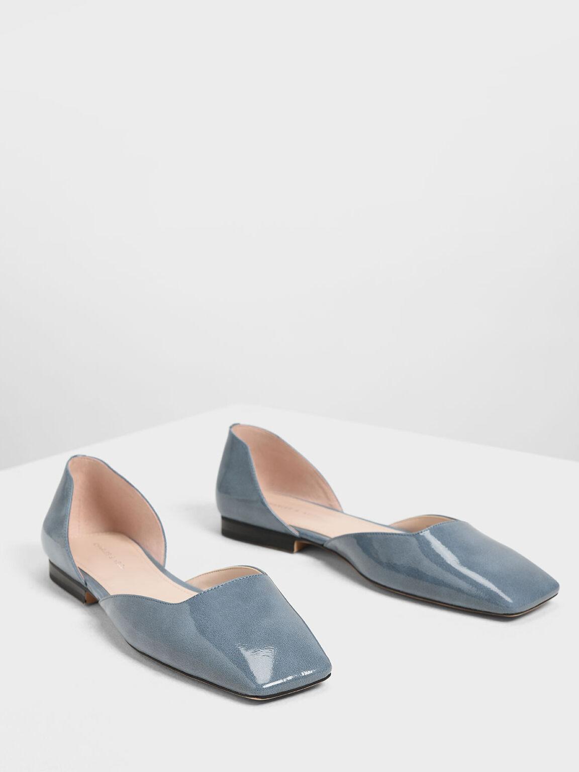Square Toe D'Orsay Flats, Light Blue, hi-res