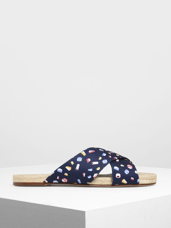 Criss Cross Printed Fabric Slide Sandals, Dark Blue, hi-res