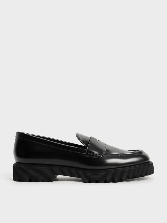 Chunky Penny Loafers, Black, hi-res