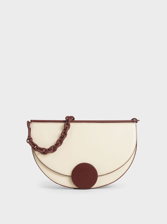 Two-Tone Half Moon Clutch, Cream, hi-res