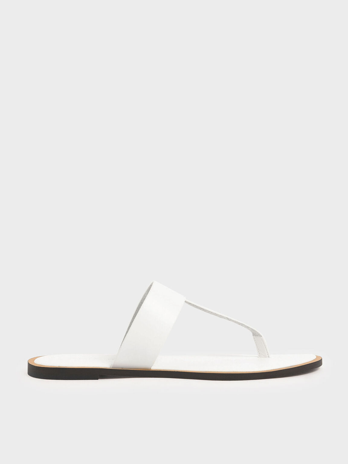 T-Bar Slide Sandals, White, hi-res