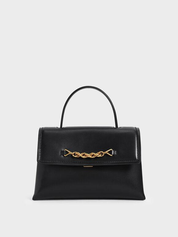 Chain-Embellished Trapeze Top Handle Bag, Black, hi-res