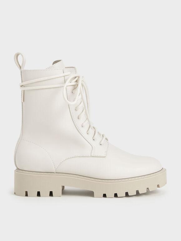 Lace-Up Calf Boots, Chalk, hi-res