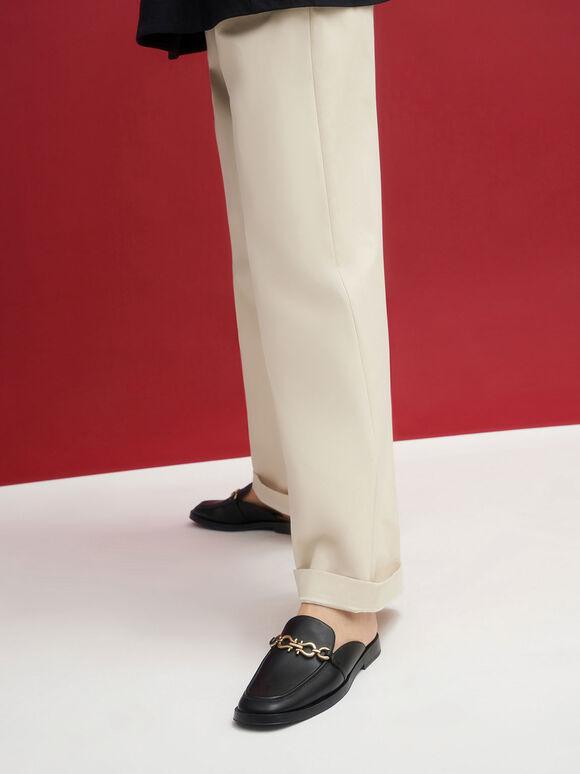 Chain-Embellished Loafer Mules, Black, hi-res