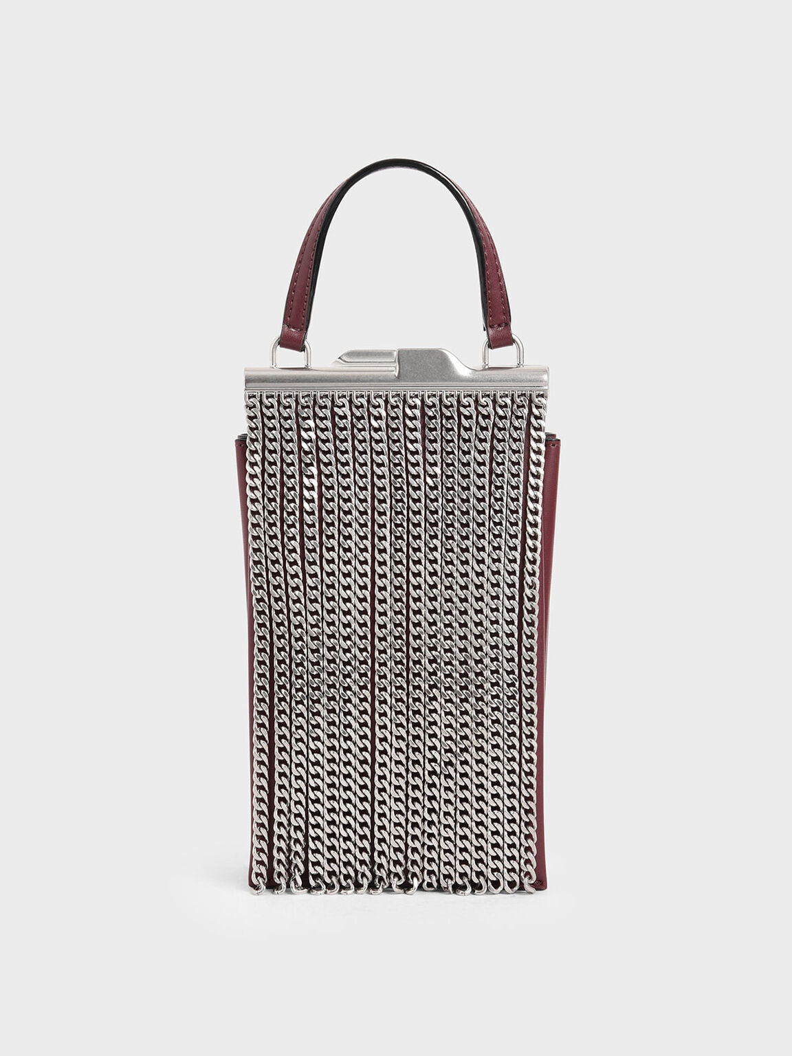 Chain Fringe Elongated Clutch, Burgundy, hi-res