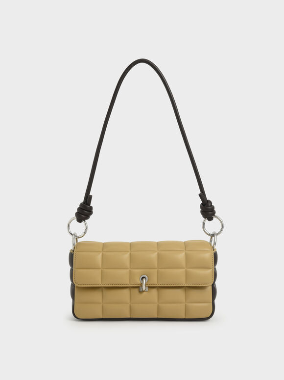 Chunky Chain Handle Quilted Shoulder Bag, Sand, hi-res