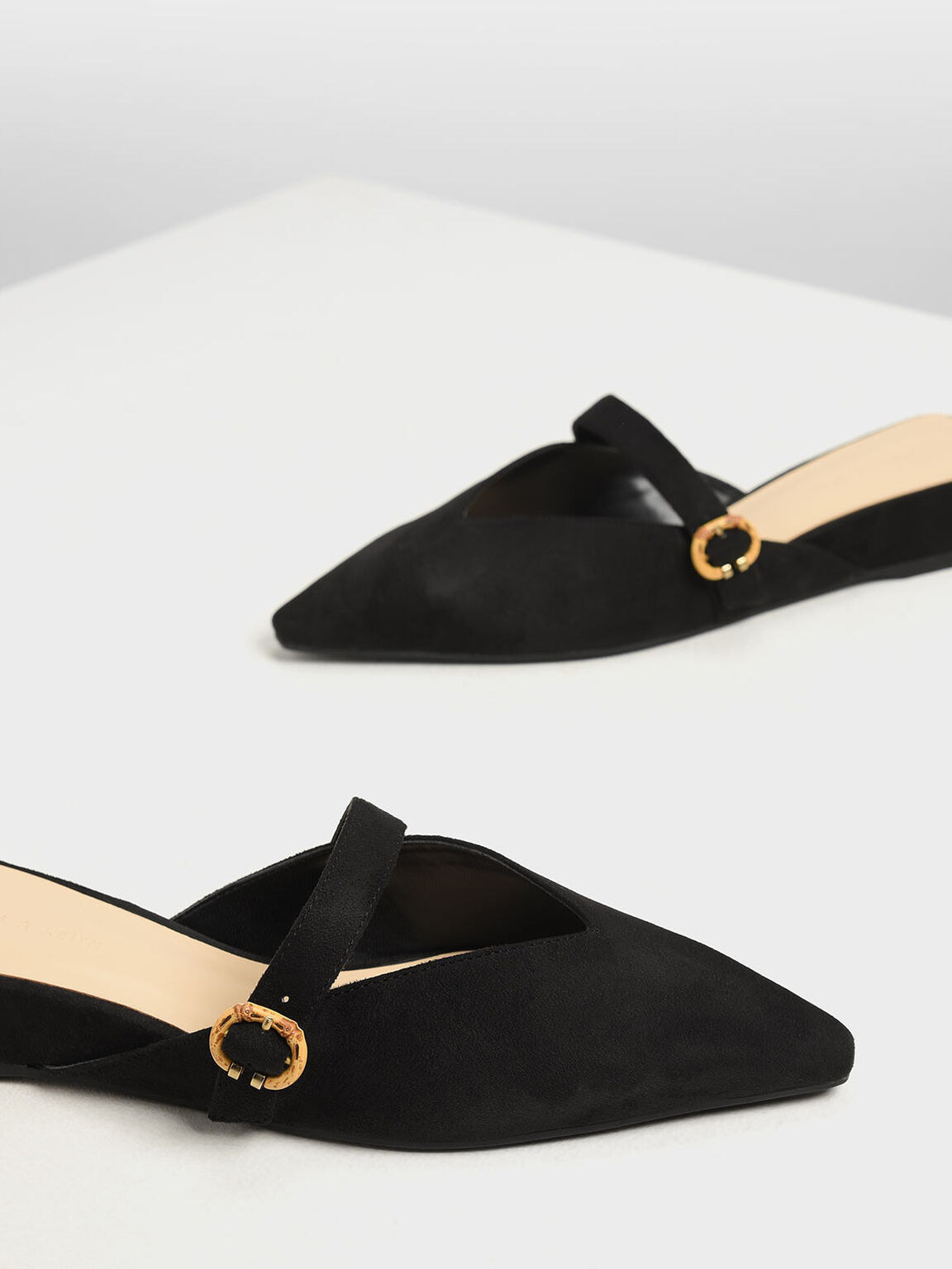 V-Cut Low Wedge Mules, Black Textured, hi-res