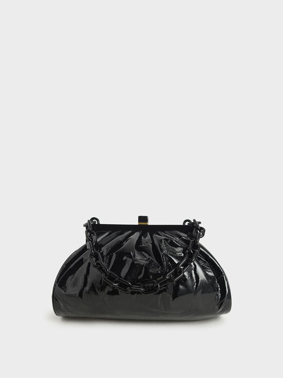 Patent Chain Handle Clutch, Black, hi-res