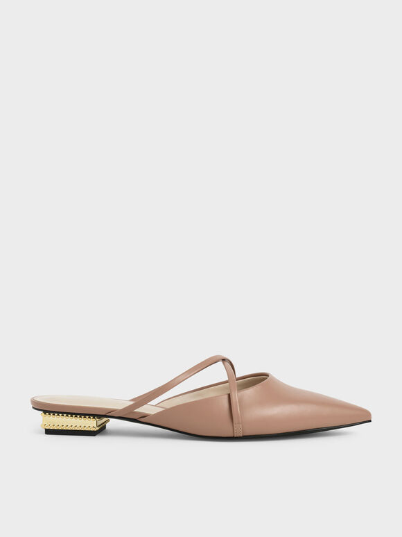 Pointed Toe Cross Strap Mules, Camel, hi-res
