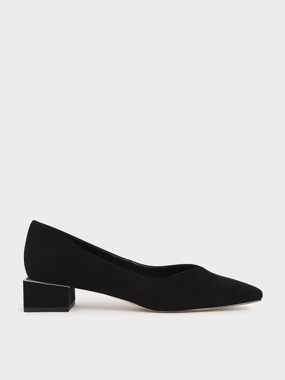 Textured Block Heel Court Shoes, Black Textured, hi-res