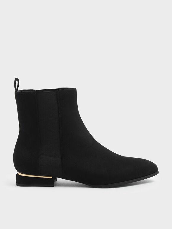Metal Accent Heel Textured Chelsea Boots, Black Textured, hi-res