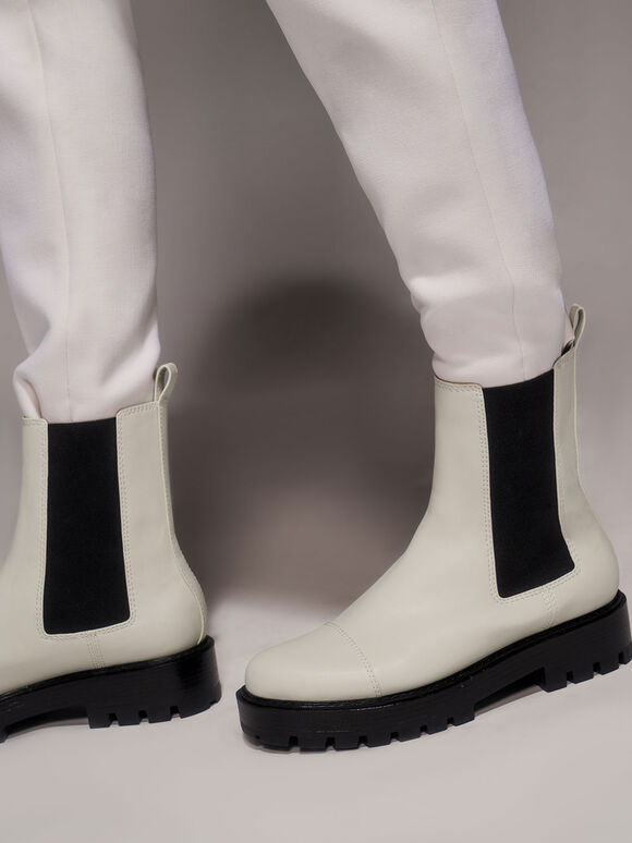 Chunky Sole Chelsea Boots, Chalk, hi-res