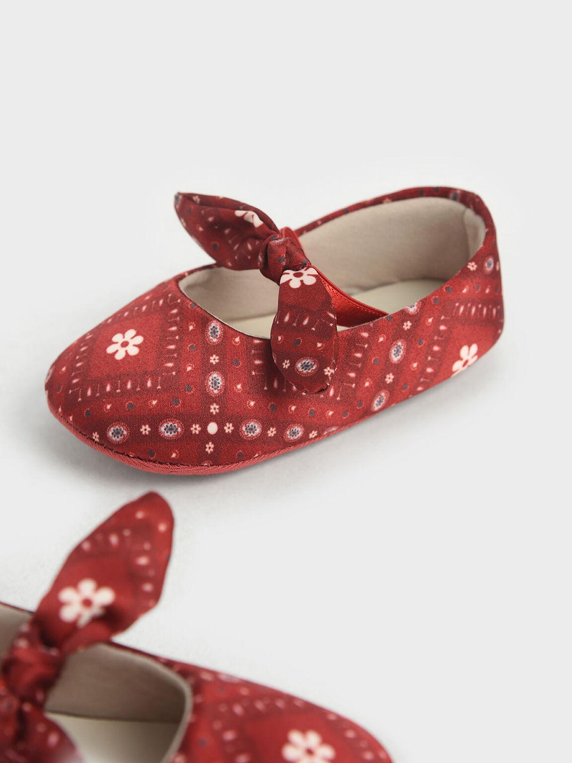The Purpose Collection - Baby Girls' Bandana Print Bow Ballerinas, Red, hi-res