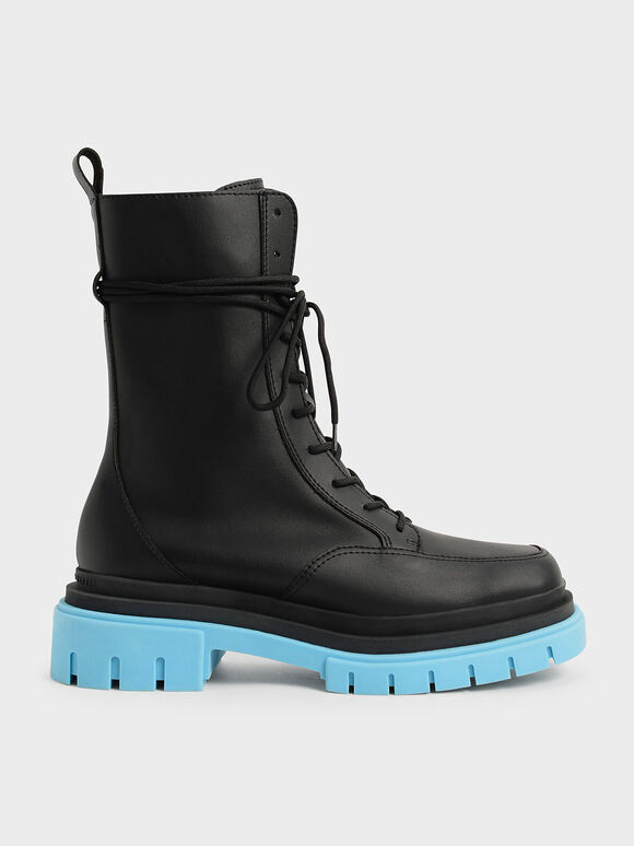 Rhys Coloured Sole Combat Boots, Blue, hi-res