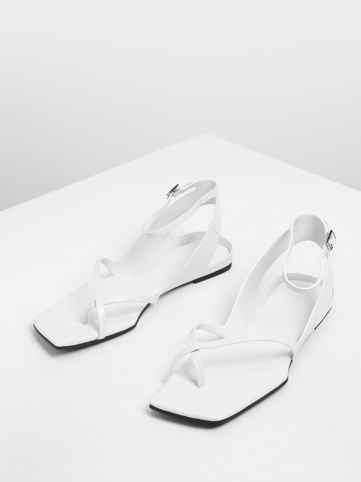 Ankle Wrap Toe Loop Sandals, White, hi-res