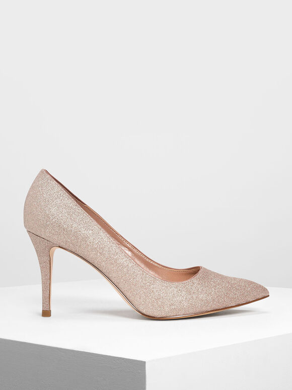 Glitter Pumps, Rose Gold, hi-res