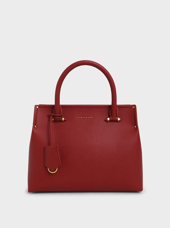 Double Handle Structured Tote Bag, Red, hi-res