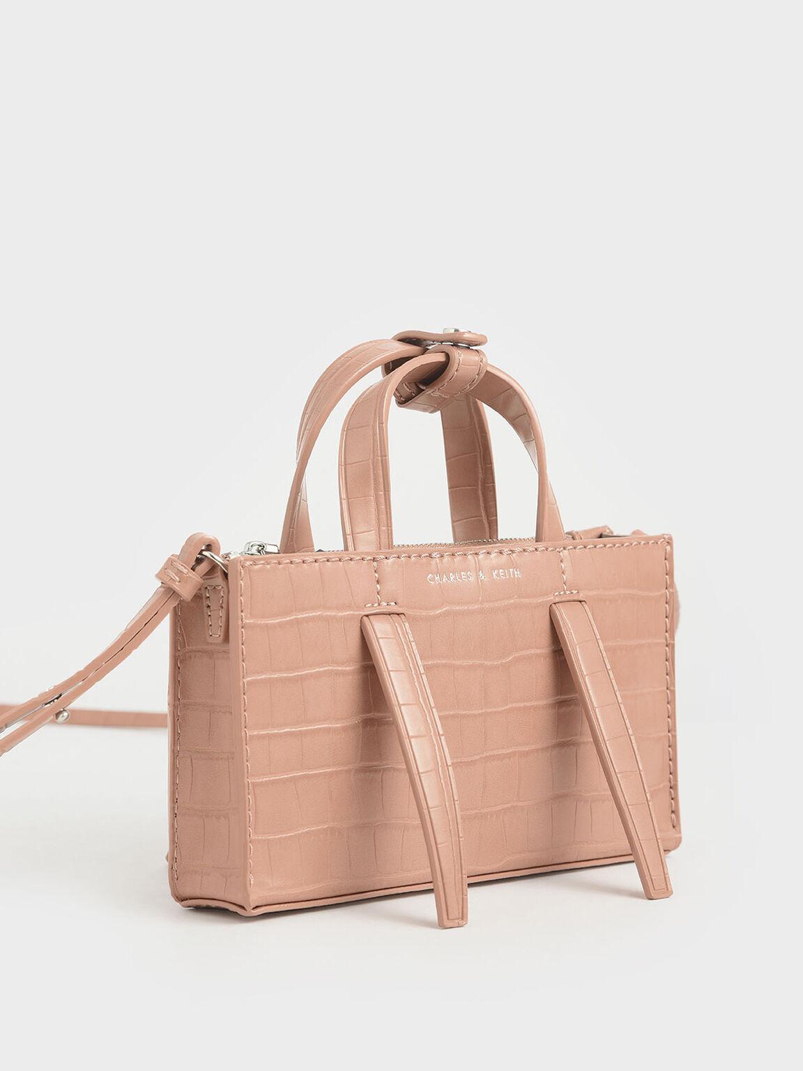 Croc-Effect Double Top Handle Bag, Blush, hi-res