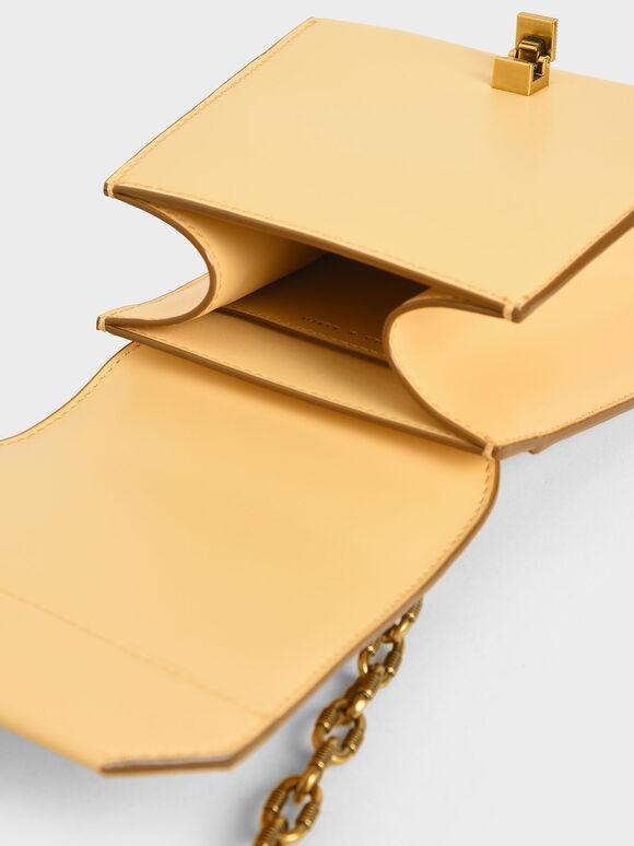 Metallic Accent Geometric Crossbody Bag, Yellow, hi-res
