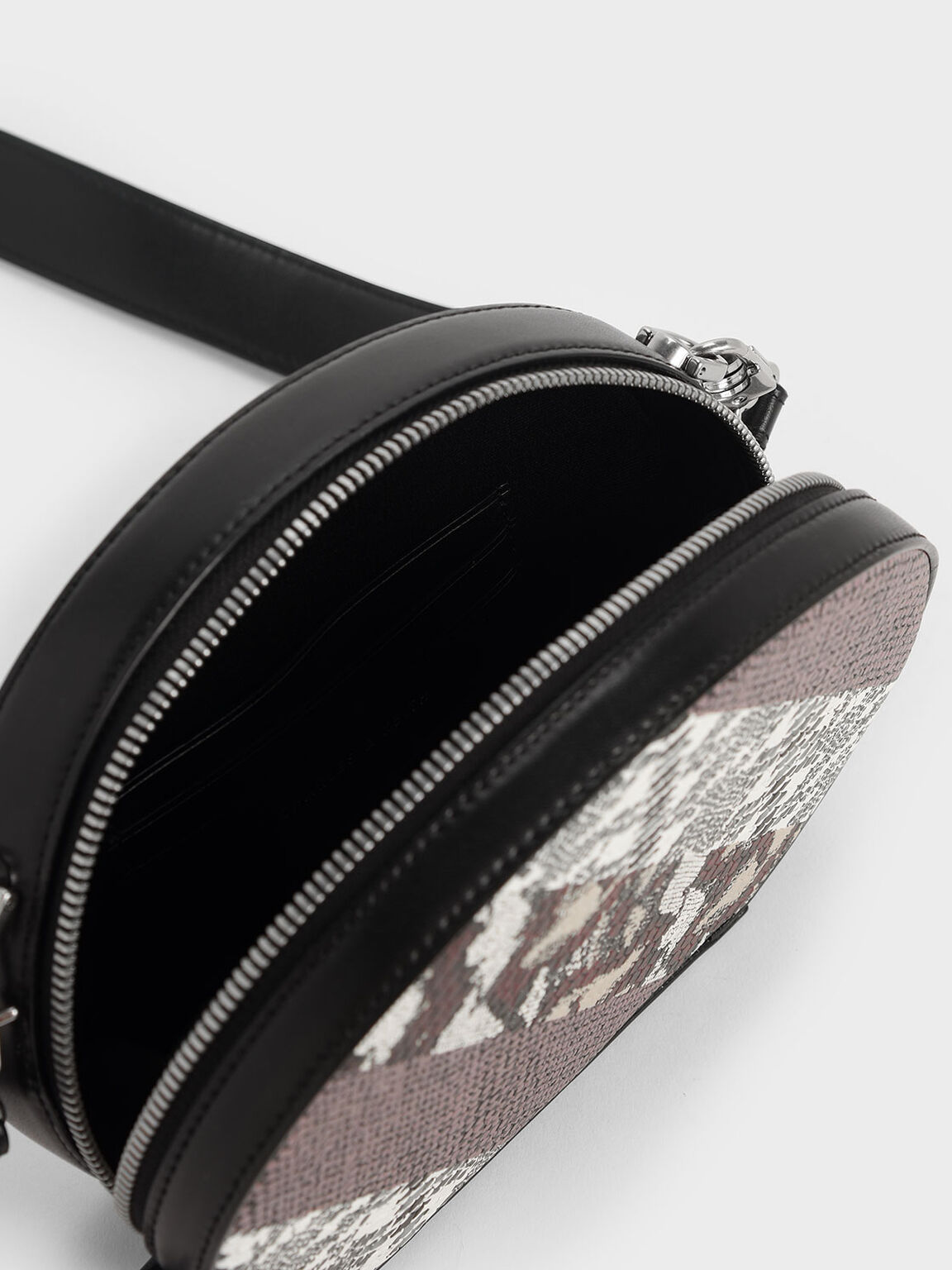 Snake Print Oval Crossbody Bag, Multi, hi-res
