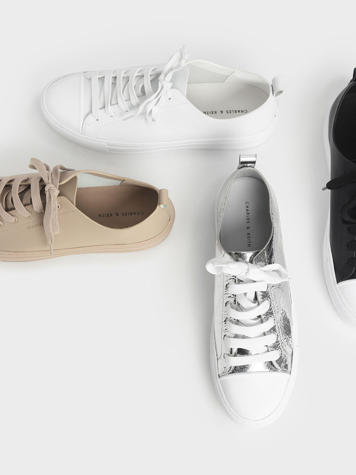 Platform Sneakers, White, hi-res