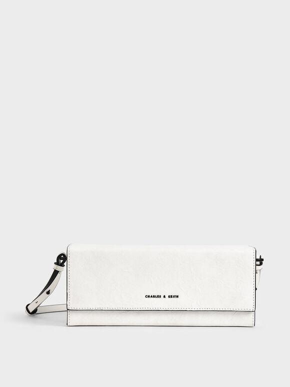 Long Boxy Crossbody Bag, White, hi-res