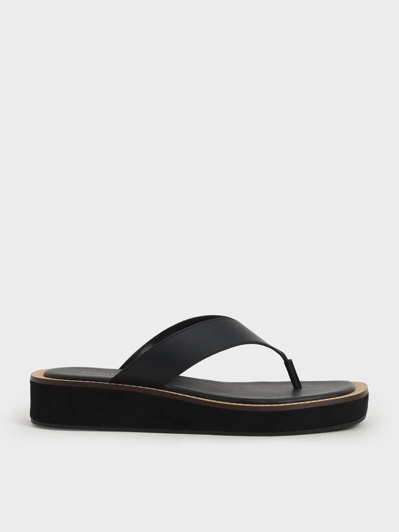 Platform Thong Sandals, Black, hi-res