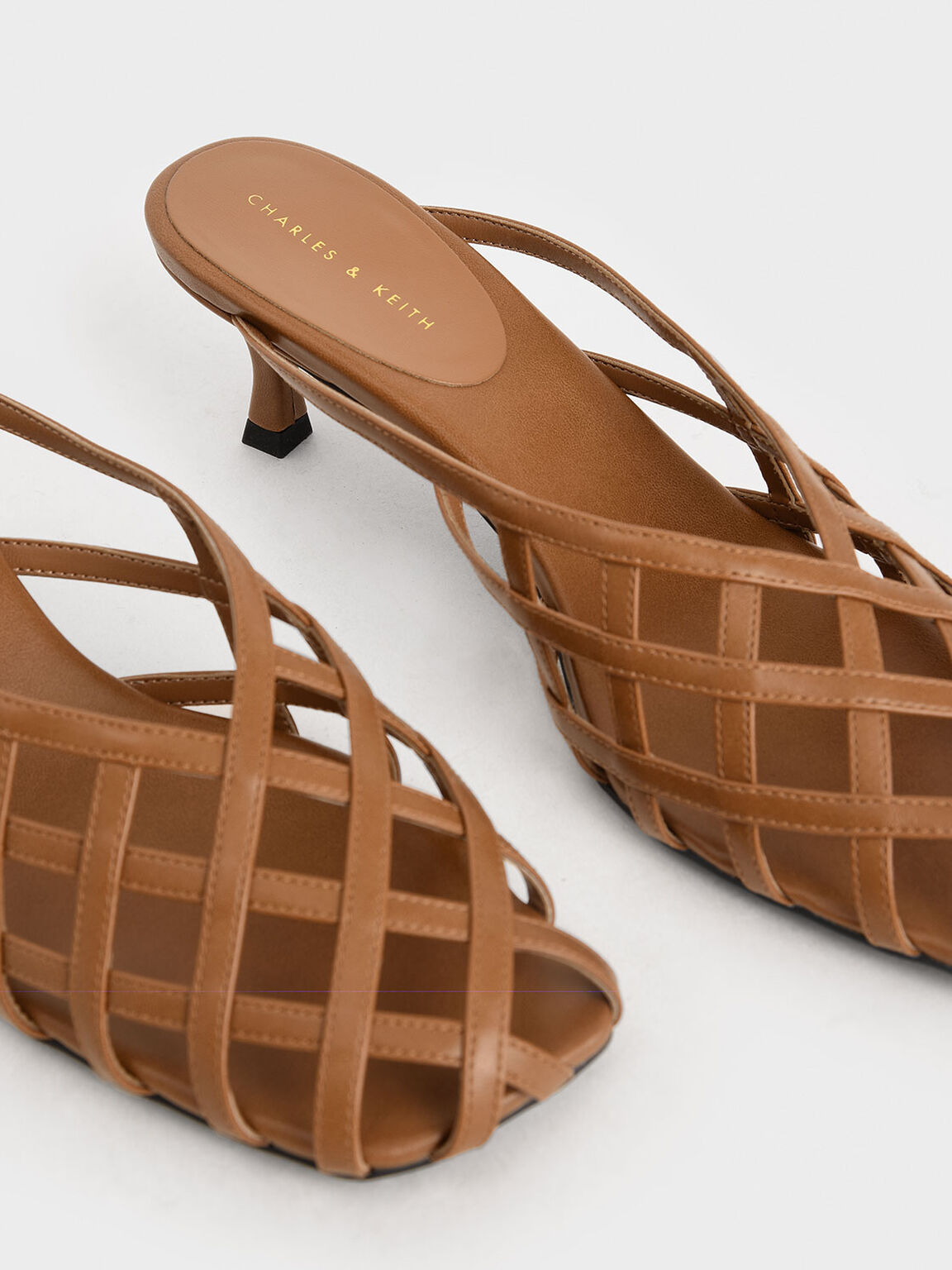 Square Toe Caged Mules, Cognac, hi-res