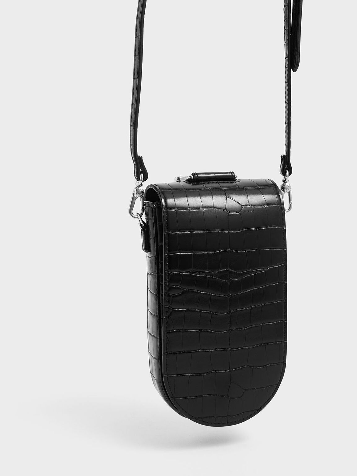 Croc-Effect Long Pouch, Black, hi-res