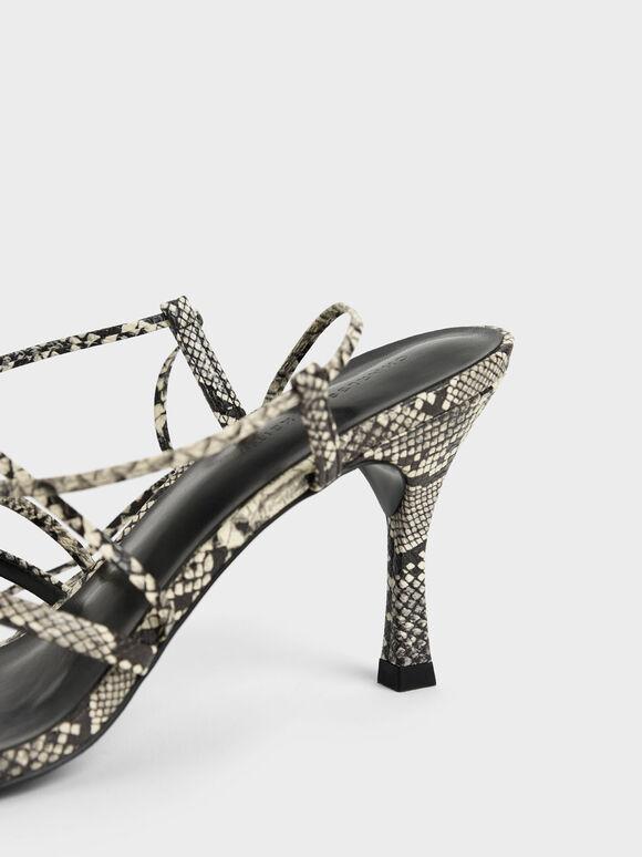 Snake Print Tie-Around Strappy Sandals, Animal Print Natural, hi-res