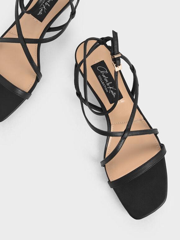 Leather Strappy Sandals, Black, hi-res