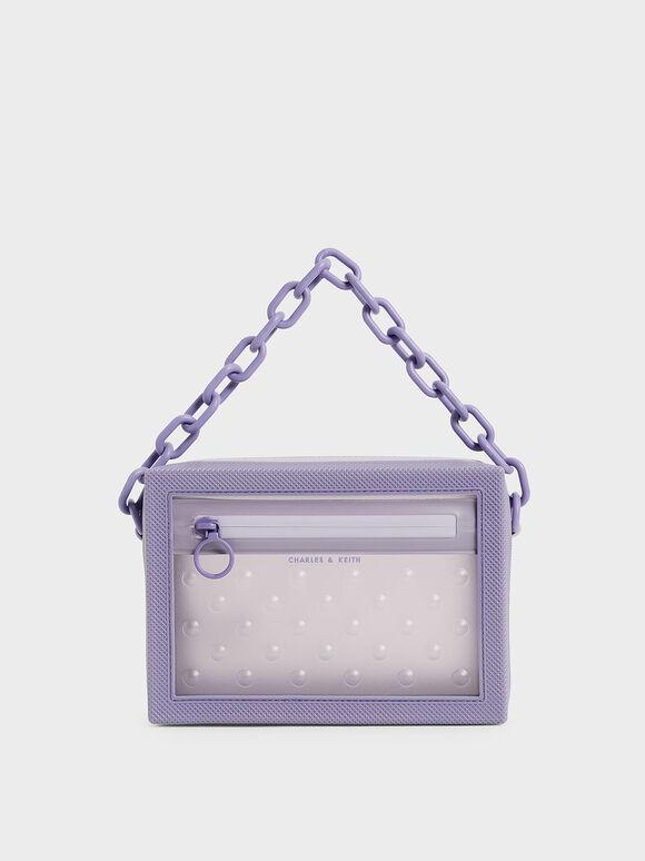 Chain Link Crossbody Bag, Lilac, hi-res