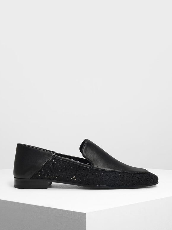 Crochet Leather Loafers, Black, hi-res