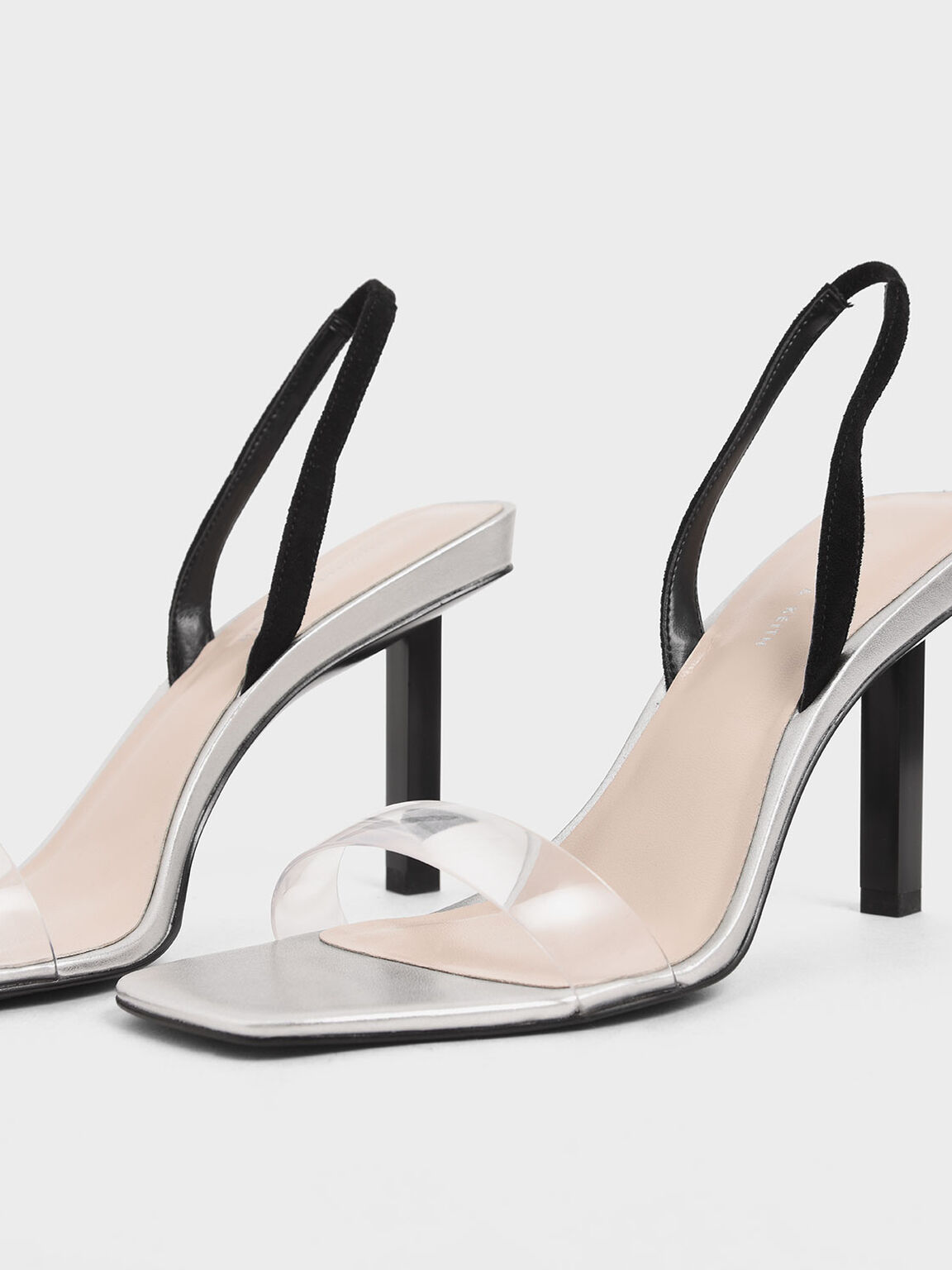 Clear Strap Slingback Heels, Silver, hi-res