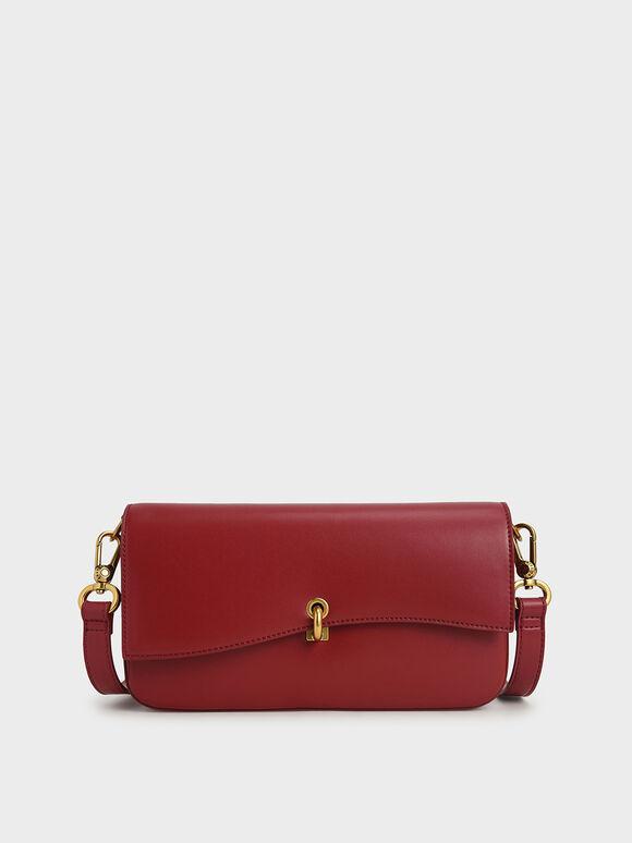 Turn-Lock Shoulder Bag, Red, hi-res