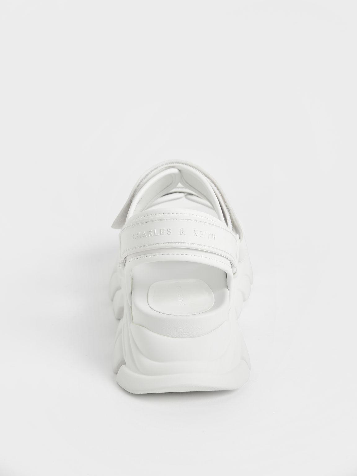 Chunky Sports Sandals, White, hi-res