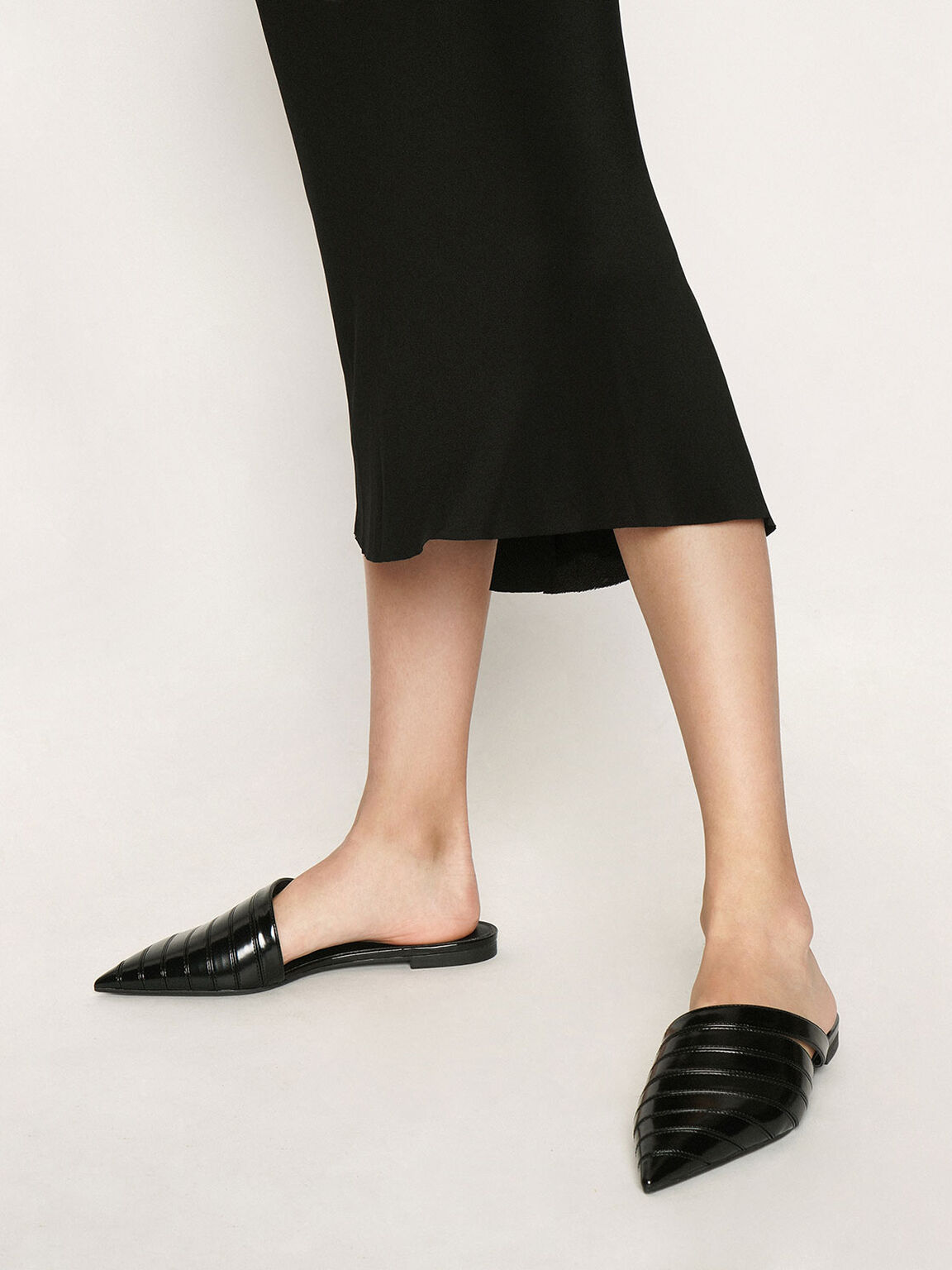 Asymmetric Pointed Toe Mules, Black, hi-res