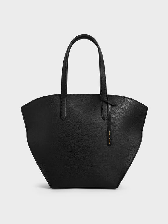 Large Geometric Tote Bag, Black, hi-res