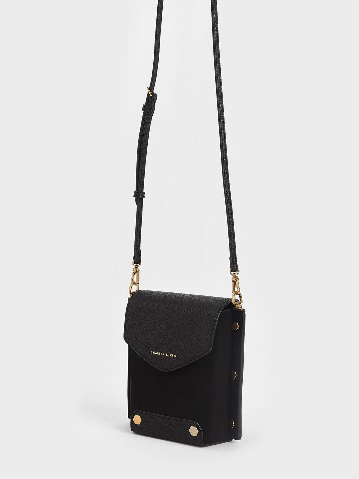 Studded Textured Bag, Black, hi-res