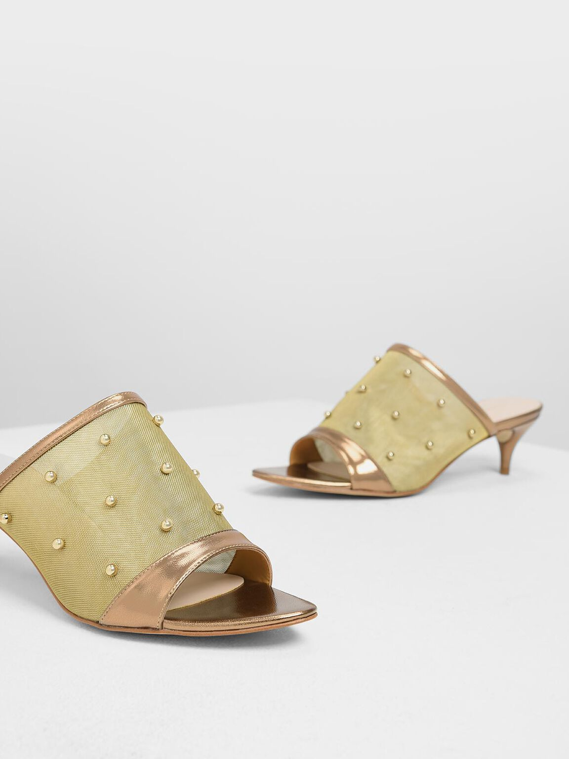 Embellished Mesh Kitten Heel Slide Sandals, Bronze, hi-res