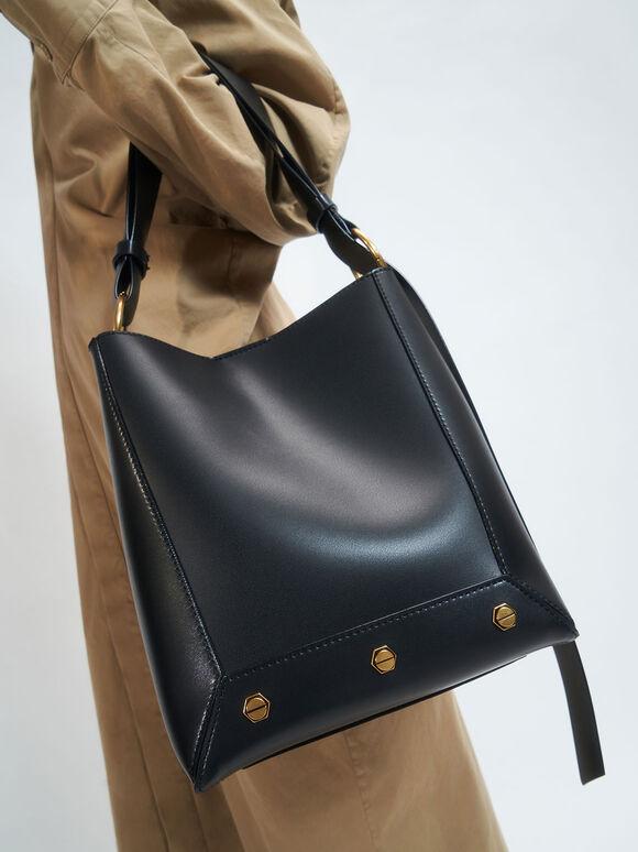 Studded Tote Bag, Black, hi-res