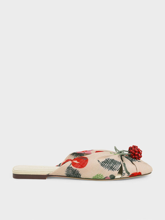 Cherry Embellished Peep-Toe Slide Sandals, Multi, hi-res
