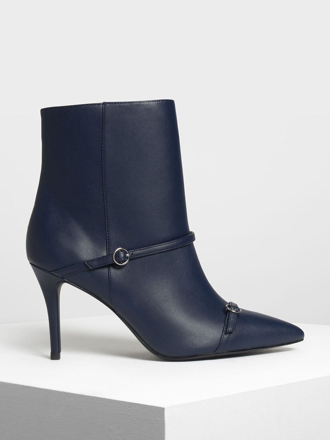 Double Strap Detail Pointed Boots, Dark Blue, hi-res