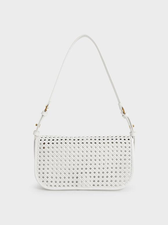 Woven Flap Shoulder Bag, White, hi-res