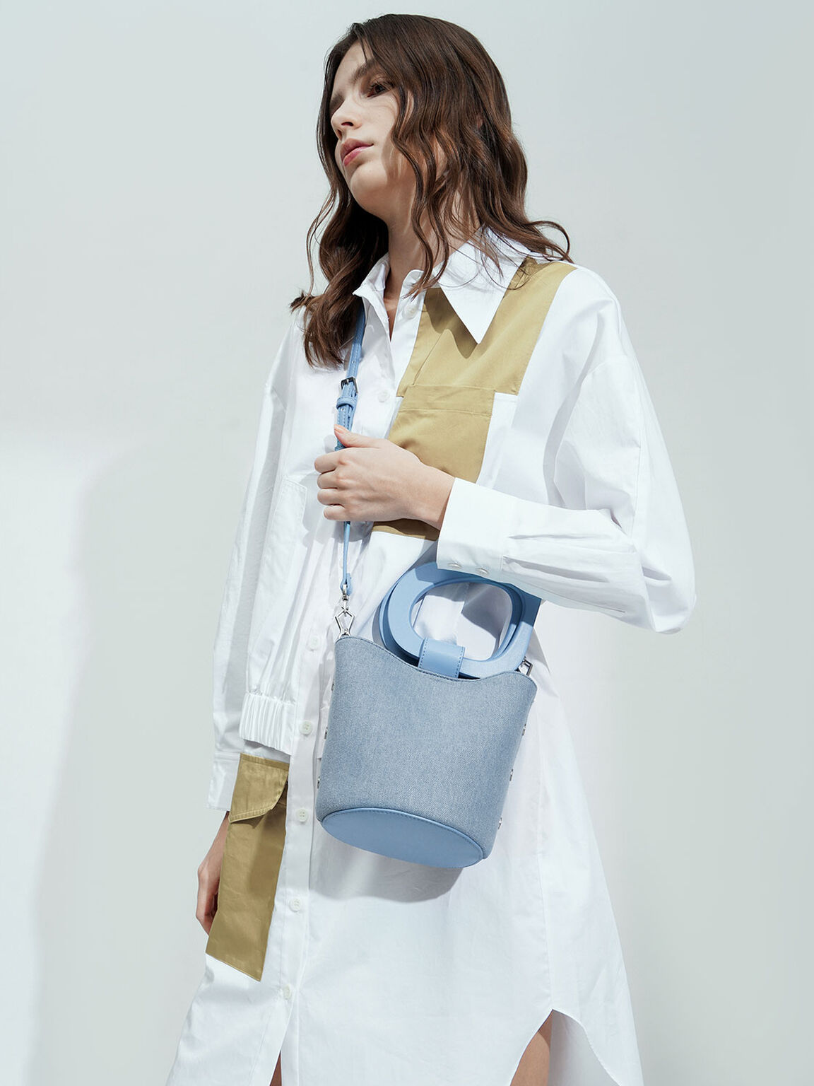 Textured Sculptural Handle Bucket Bag, Denim Blue, hi-res
