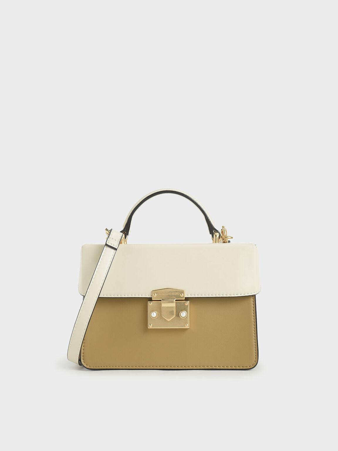 Two-Tone Metallic Push-Lock Handbag, Multi, hi-res