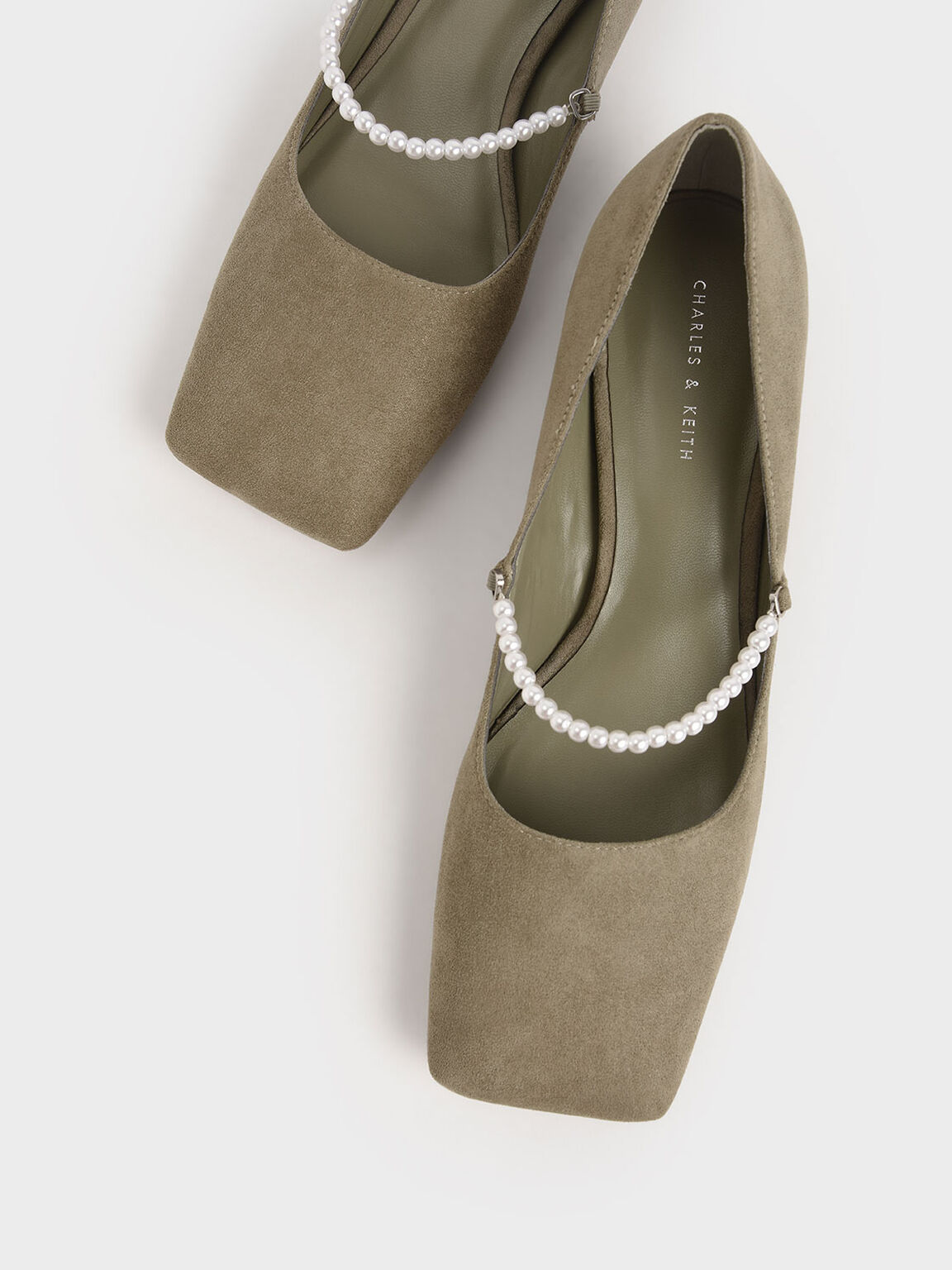 Textured Beaded Mary Janes, Olive, hi-res