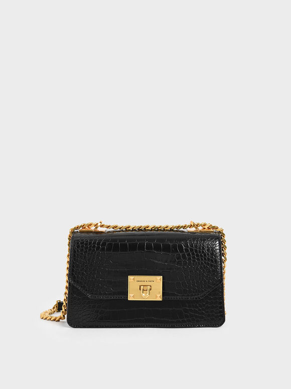 Croc-Effect Chain Strap Crossbody Bag, Black, hi-res